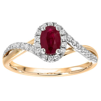 0.50ct Oval Cut Ruby and 0.20ctw Diamond Ring, 14ct White and Yellow Gold