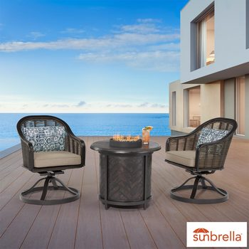 Agio Paris 3 Piece Fire Chat Patio Set
