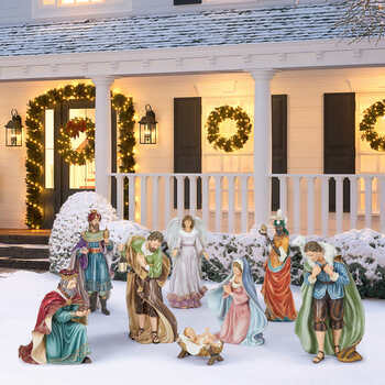 9 Piece Outdoor Handcrafted Christmas Nativity Set
