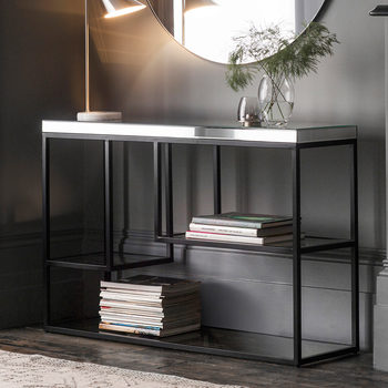 Pippard Console Table with Mirrored Top, Satin Black