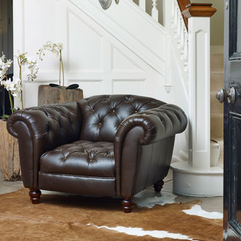 Wellington Semi Aniline Leather Chesterfield Armchair, Chocolate