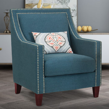 Homepop Blue Fabric Chair with Accent Pillow