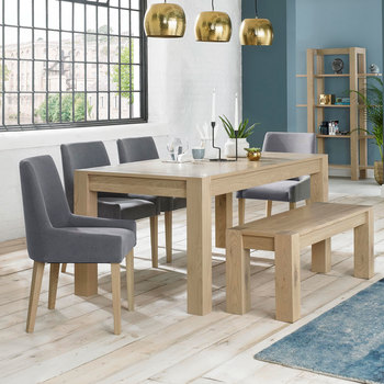 Bentley Designs Turin Aged Oak Extending Dining Table with Bench + 4 Chairs