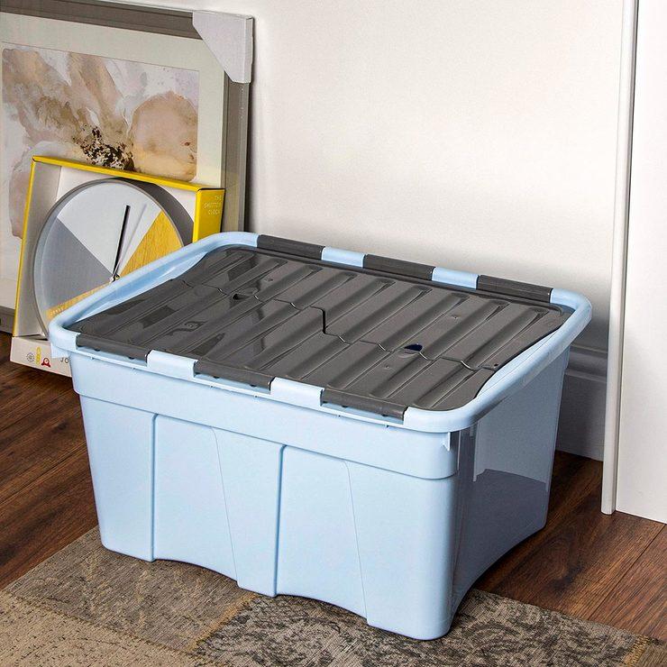 Sensational Wham 54 Litre Plastic Croc Box Lid In Cool Blue Steel 5 Pack Costco Uk Beatyapartments Chair Design Images Beatyapartmentscom