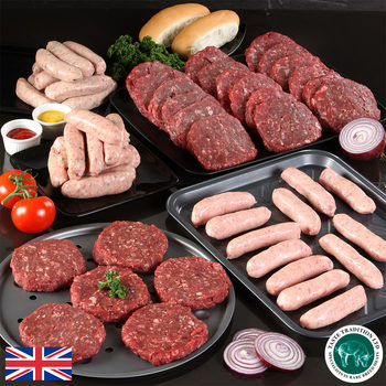 Taste Tradition Mixed Sausage & Burger BBQ Box - 24 x 170g (6oz) Burgers, 36 x 65g (2.3oz) Sausages