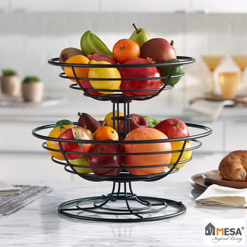 Mesa 2-Tier Stacking Basket in Black