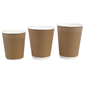 Cafe Express Brown Corrugated Hot Cups 1000 Pack, in 3 Sizes