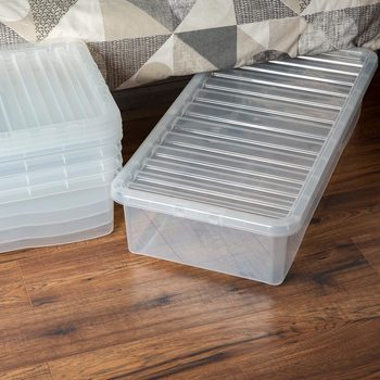 Wham 42L Crystal Clear Plastic Box and Lid- 5 Pack