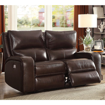 Zach 2 Seater Brown Leather Power Recliner Sofa