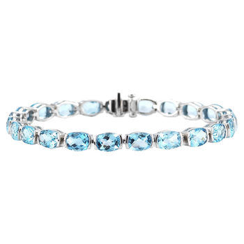 Cushion Cut Blue Topaz Bracelet, 14ct White Gold