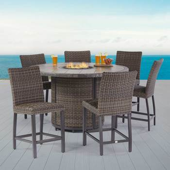 Agio Springdale 7 Piece Bar Height  Fire Chat Patio Set + Cover