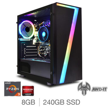 AWD-IT Ranger 3, AMD Ryzen 3, 8GB RAM, 240GB SSD, AMD Vega 8, Gaming Desktop PC