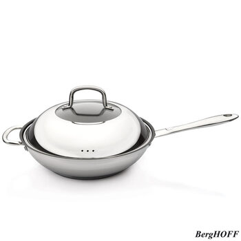 BergHOFF Moon Stainless Steel 28cm Wok with Lid