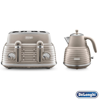 Delonghi Scolpito Kettle & Toaster Set Champagne