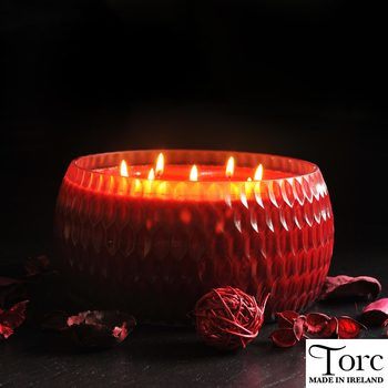 Torc Fragranced 7 Wick Textured Glass Natural Wax Candle