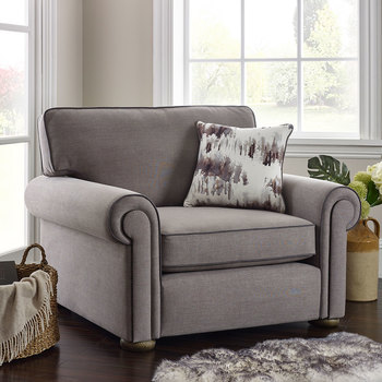 Henley Steel Grey Fabric Snuggler Chair