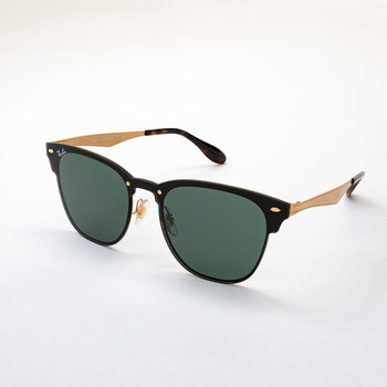 a978c92e9840 Ray-Ban Black and Gold Sunglasses with Green Lenses
