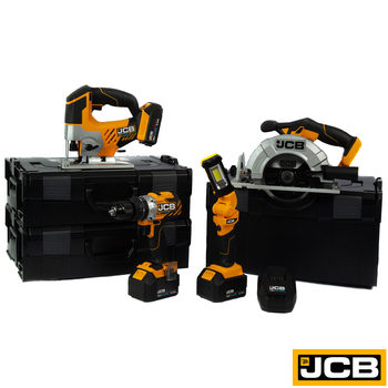 JCB Tools Professional 18V 4 Piece Power Tool Kit with 3 Lithium-ion Batteries