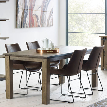 Barnyard Reclaimed Wood Dining Table + 4 Scoop Chairs