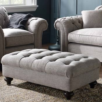 Bordeaux Button Back Fabric Footstool in 2 Colours