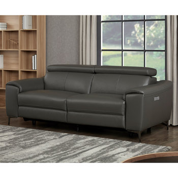 Kuka Warren 3 Seater Dark Grey Leather Power Reclining Sofa