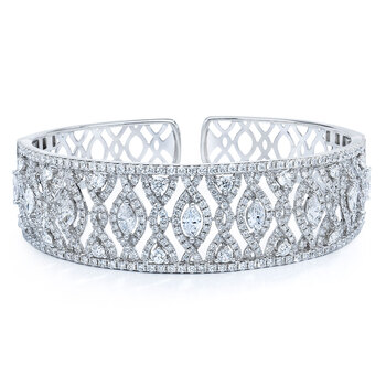 6.65ctw Marquise & Round Brilliant Cut Diamond Cuff, 18ct White Gold