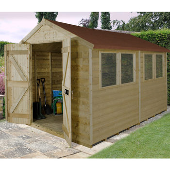 Installed Forest Garden Apex 8ft x 10ft (2.4 x 3m) Tongue & Groove Shed