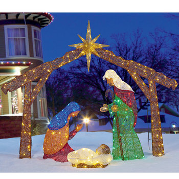 4ft 8 Inches (1.42m) Christmas LED Fabric Nativity Set With 245 LED lights