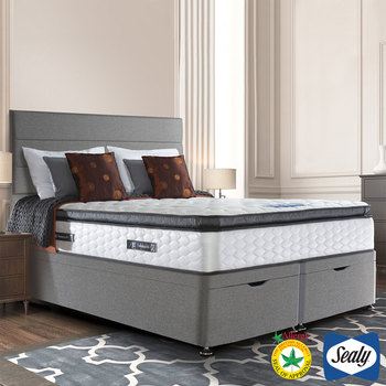 Sealy Symphony Posturetech Memory Mattress & Ottoman Divan in Pebble Grey in 3 Sizes