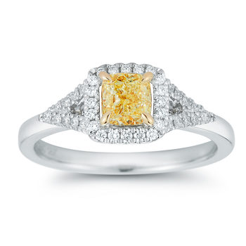 0.87ctw Cushion and Round Brilliant Cut Fancy Yellow Diamond Ring, 18ct Yellow Gold and Platinum