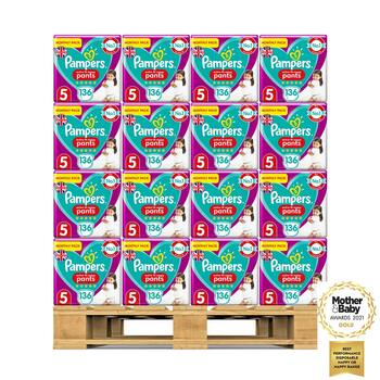 Pampers Active Fit Nappy Pants Size 5, 32 x Monthly 136 Pack