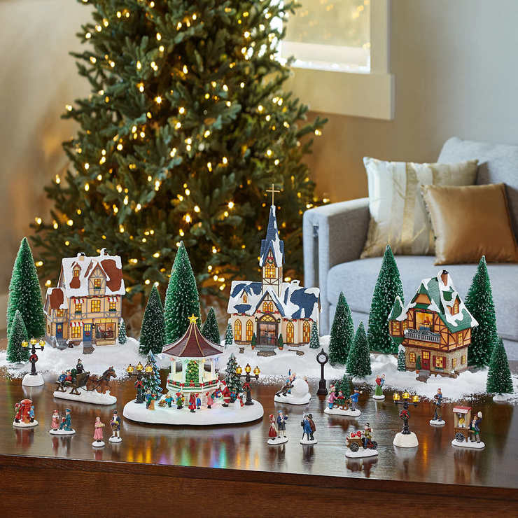 Christmas Decorations.Christmas Village Scene With Led S Musical Gazebo 30 Pieces Costco Uk
