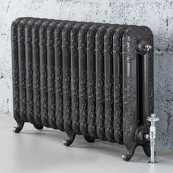 Arroll Daisy 2 Column (590 x 1010mm) 15 Section Cast Iron Radiator in 2 Colours with Chrome or Copper Thermostatic Valves