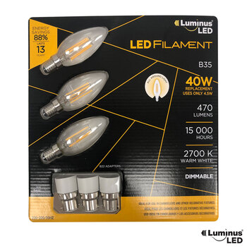 Conglom Luminus LED Chandelier Filament Dimmable Bulbs - 3 Pack