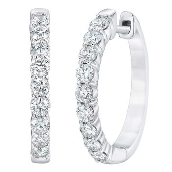 1.00ctw Round Brilliant Cut Diamond Hoop Earrings, 14ct White Gold