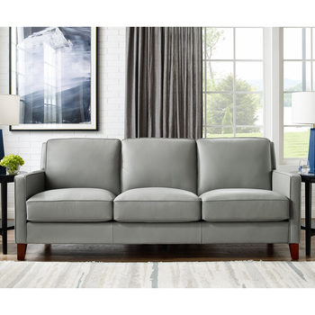 West Park 3 Seater Light Grey Leather Sofa