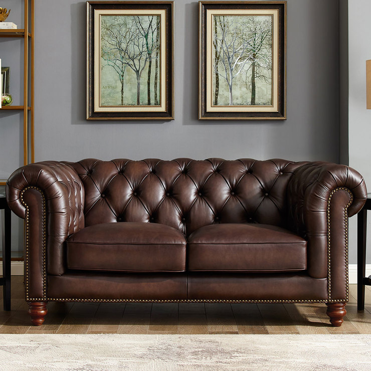 Allington 2 Seater Brown Leather Chesterfield Sofa | Costco UK