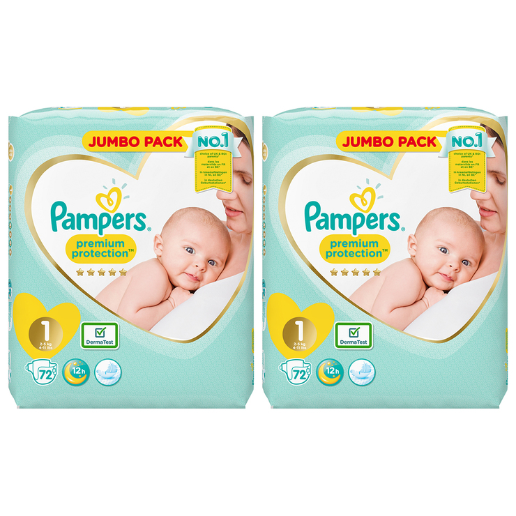 Pack of 72 by Pampers Size 1 Pampers Premium Protection Nappies New Baby Jumbo Pack