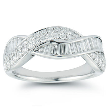0.99ctw Baguette and Round Brilliant Cut Diamond Ring, 18ct White Gold