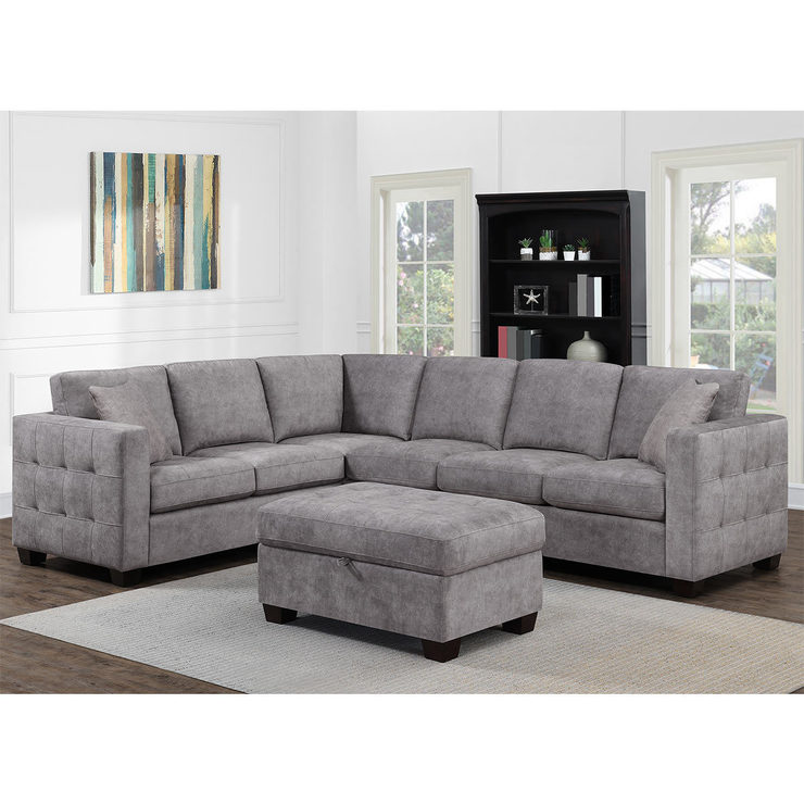 Thomasville Kylie Grey Fabric Corner Sofa with Storage Ottoman | Costco UK