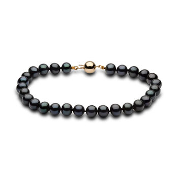 6-6.5mm Cultured Freshwater Black Pearl Bracelet, 18ct Yellow Gold