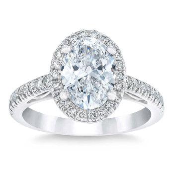 2.53ctw Oval Cut Diamond Halo Wedding Ring, Platinum