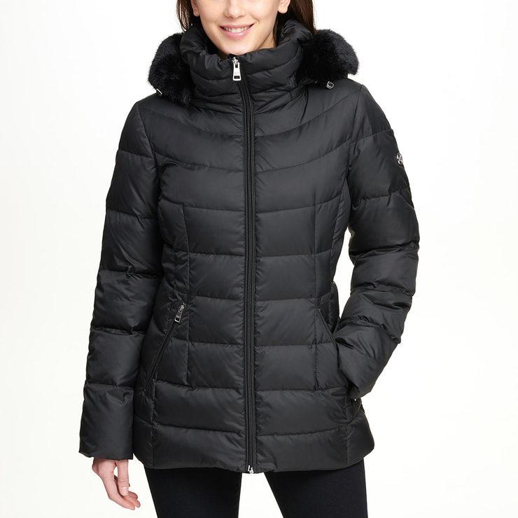 41eefedd7ed Andrew Marc Women's Short Down Jacket with Hood in Black   Costco ...