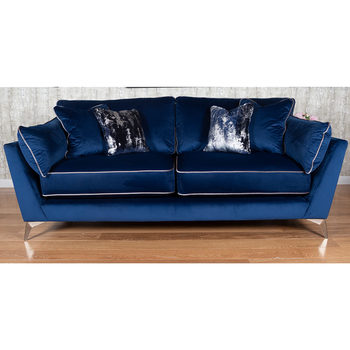 Roko Blue Velvet 3 Seater Sofa