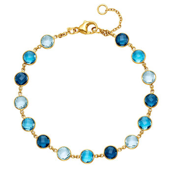 Blue Topaz Bracelet, 14ct Yellow Gold