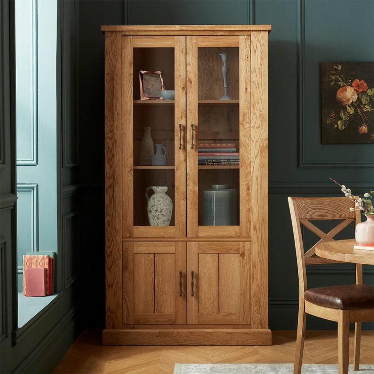 Bentley Designs Westbury Rustic Oak Display Cabinet Costco Uk