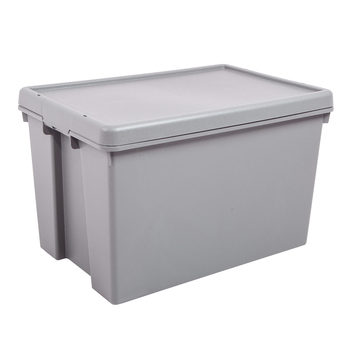 Wham Bam 45 Litre Upcycled Heavy Duty Plastic Storage Box & Lid in Grey - 5 Pack