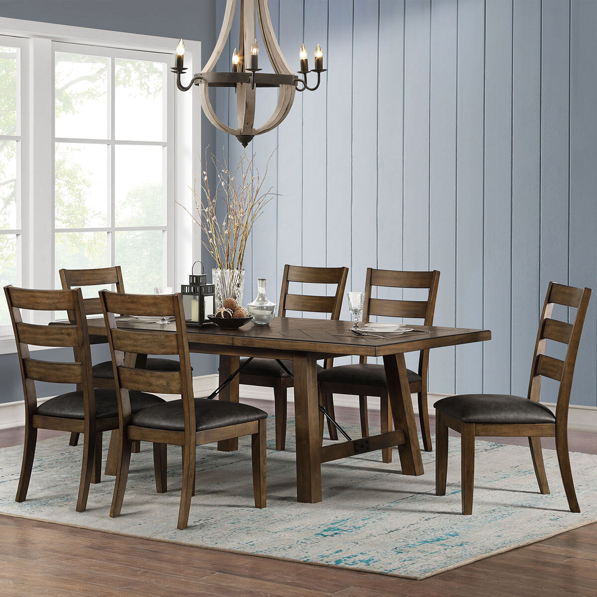 Picture of: Bayside Furnishings Extending Dining Table 6 Ladder Back Chairs Seats 4 8 Costco Uk
