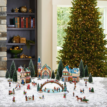 30 Piece Table Top Christmas Village Scene with Lights and Music