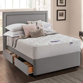 Silentnight Miracoil Memory Cushion Top Mattress and Divan in Grey in 4 Sizes